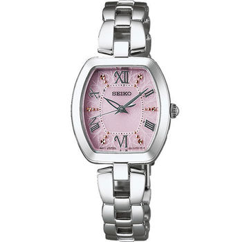 SEIKO Vivace 羅馬佳人太陽能電波腕錶-粉/26mm 1B21-0AH0P(SWFH033J)