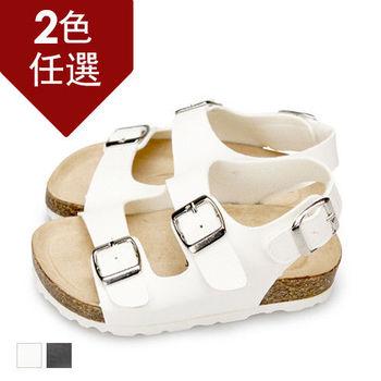 FUFA MIT 經典款雙排釦涼鞋 ( FNB14)-白色
