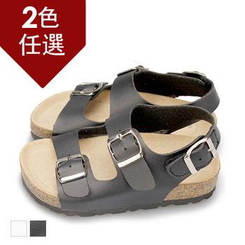 FUFA MIT 經典款雙排釦涼鞋 ( FNB14)-黑色