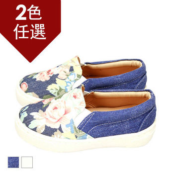FUFA MIT 古典玫瑰懶人童鞋( FNB08)-藍花