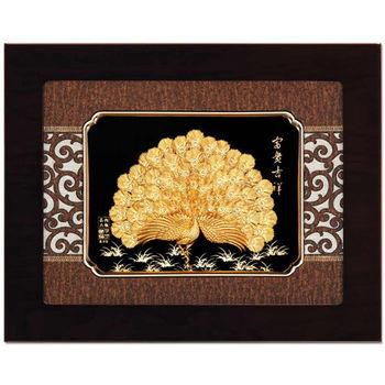 鹿港窯-立體金箔畫-富貴吉祥(框畫系列27x34cm)
