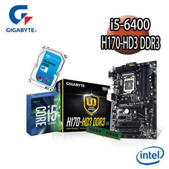 【技嘉組合】Intel Core i5-6400+H170-HD3 DDR3主機板+8G記憶體+1TB硬碟 優質嚴選