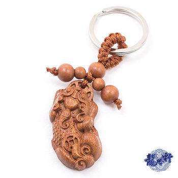 【龍吟軒】天然花梨木精雕招財貔貅鑰匙圈/吊飾