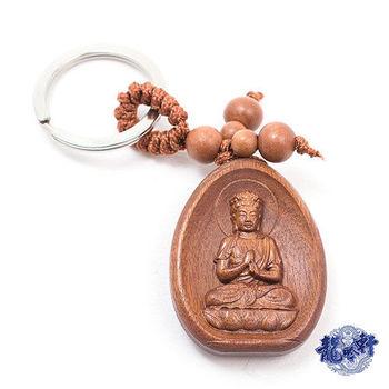 【龍吟軒】天然花梨木精雕大日如來鑰匙圈/吊飾