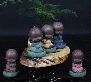 彩砂陶紫砂小和尚佛像沙彌茶寵(愁)