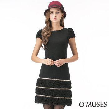 【OMUSES】厚毛織金屬宴會洋裝37-9016(S-XL)