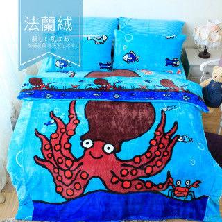 【R.Q.POLO】童趣系列 『章魚哥』法蘭絨雙人加大鋪棉床包毯被四件組(6X6.2尺)