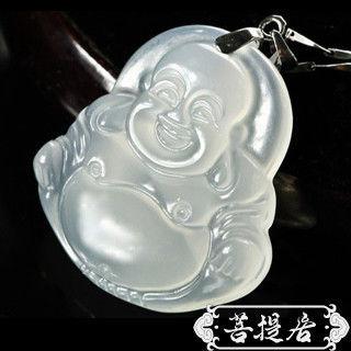 【菩提居】天然白玉髓福氣財神彌勒佛吊墜(福臨門)