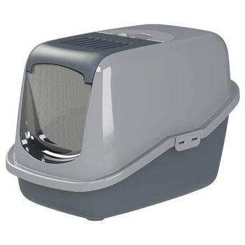 PeeWee必威 屋型雙層貓便盆-槍灰色
