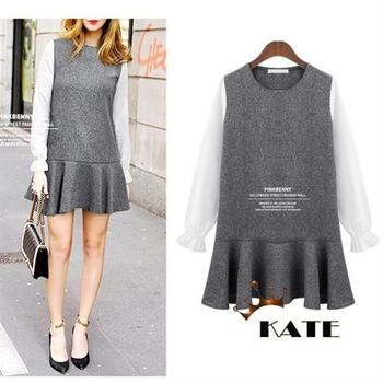 【KATE】拼接袖假兩件背心長袖連身裙K110(雅風灰XL-3XL)
