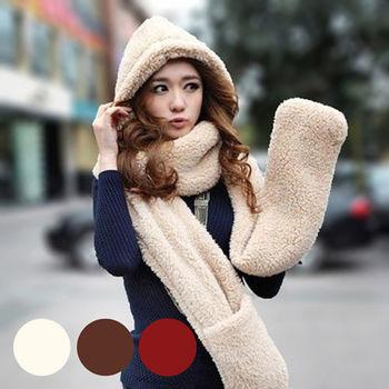 【ENNE】秋冬新款韓版三合一加厚絨毛圍巾連帽手套-四色任選(Q1104)