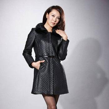 IKON 時尚巴黎經典小羊皮長外套