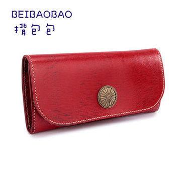 【BEIBAOBAO】義大利手工縫線真皮皮夾(甜酒紅)