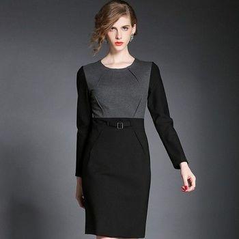 【M2M】名媛氣質包臀長袖收腰一步裙長袖連衣裙
