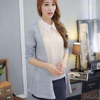 【EE-LADY】混色針織開襟外套-灰色