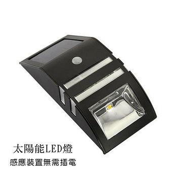 LED 太陽能 感應照明 戶外壁燈 黑色