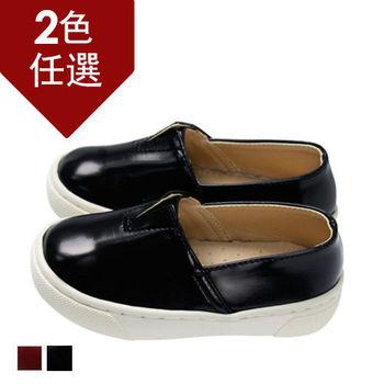 FUFA MIT 圓頭皮質懶人童鞋  FNB20) 黑色