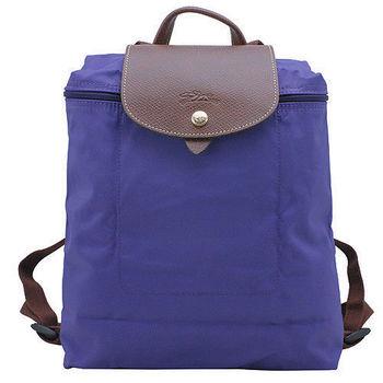 LONGCHAMP 摺疊暗釦拉鍊後背包(水晶紫)