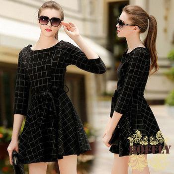 【ROFFLY蘿芙莉】預購-CN7851-歐美時尚九分袖修身圓領格紋腰間綁帶洋裝