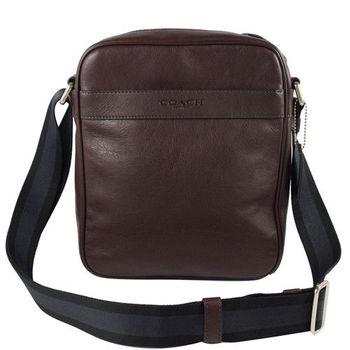 COACH 71723 都會質感全皮革雙色織帶中性斜背包.深咖(大)