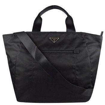 PRADA BR4376 經典三角LOGO尼龍帆布中性兩用包.黑(附斜背帶)
