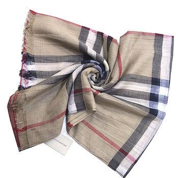 BURBERRY經典大格紋羊毛絲綢披肩/圍巾(駝色)
