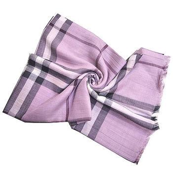 BURBERRY經典大格紋羊毛絲綢披肩/圍巾(粉紫色)