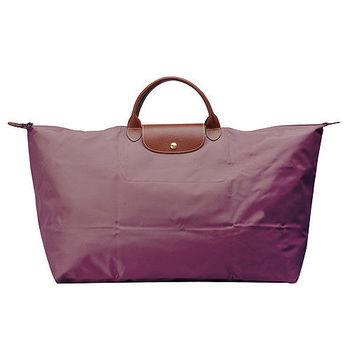 LONGCHAMP 摺疊超大型旅行包/購物袋(藕紫)