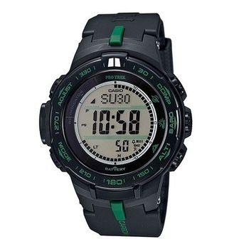 CASIO PRO TREK 霹靂遊俠的強悍風格登山運動電波式腕錶-黑-PRW-S3100-1