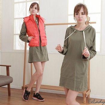 【EE-LADY】長版大口袋抽繩連帽長袖棉T-綠色