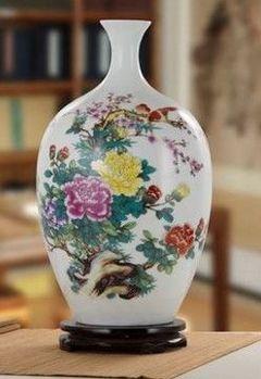 景德鎮陶瓷器花瓶客廳擺件玫瑰花鳥落地花瓶03
