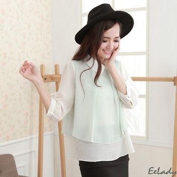【EE-LADY】襯衫領假兩件雪紡長袖上衣-綠色