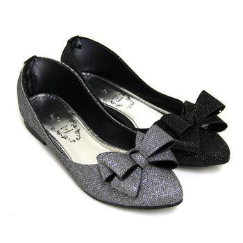 【Pretty】極致魅力閃耀金蔥蝴蝶結尖頭低跟鞋-灰色、黑色