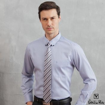 Valentino Rudy范倫鐵諾.路迪 【修身版】長袖襯衫-深藍直條(釘釦領)