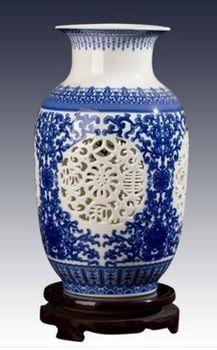 景德鎮陶瓷小花瓶鏤空青花瓷09