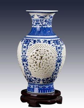 景德鎮陶瓷小花瓶鏤空青花瓷05