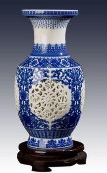 景德鎮陶瓷小花瓶鏤空青花瓷04