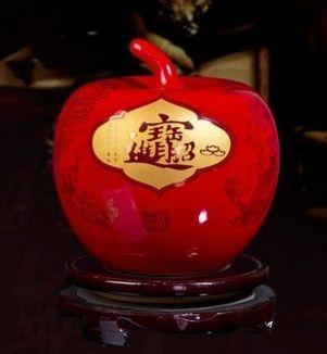 景德鎮陶瓷結婚喜慶中國紅小花瓶新房裝飾06