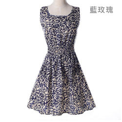 小清新洋裝-藍色玫東森百貨公司瑰