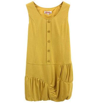 【Gennie's奇妮】不規則造型花苞棉質孕婦背心洋裝(G2Y15)-黃