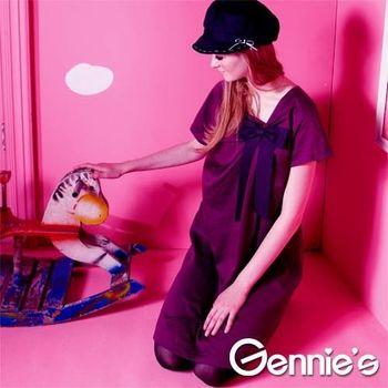 【Gennie's奇妮】禮服風格褶飾蝴蝶結孕婦洋裝(G1Y06)