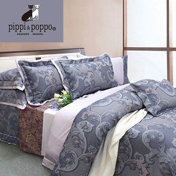 【R.Q.POLO】米蘭系列-典雅韶律 頂級60支色織緹花絲光棉/雙人加大七件式床罩組(6X6.2尺)