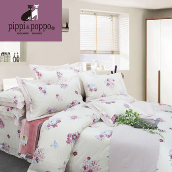 【R.Q.POLO】蘇丹系列-花意闌珊 頂級60支 高支紗絲光棉/雙人加大七件式床罩組(6X6.2尺)