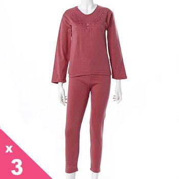 Madanna蕾絲圓領高領混搭刷毛發熱衣3套組9047-隨機選色