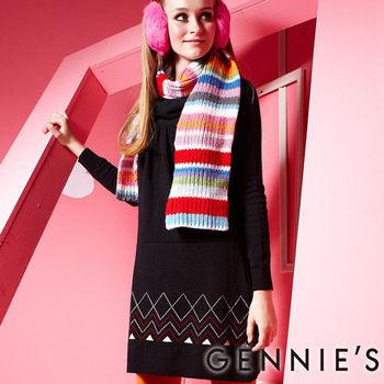 【Gennie's奇妮】低調氣息舒適彈性繞頸針織秋冬孕婦洋裝(GSY01)黑M