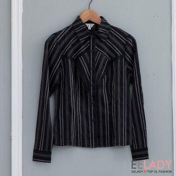 【EE-LADY】黑白條紋蕾絲長袖襯衫-黑色(S)