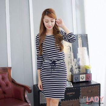 【EE-LADY】條紋綁帶長袖洋裝-黑色(S-L)