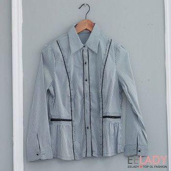 【EE-LADY】條紋長袖襯衫-黑灰色