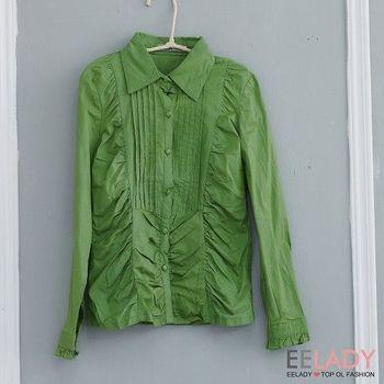 【EE-LADY】壓摺素面長袖襯衫-綠色