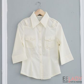 【EE-LADY】胸前口袋七分袖襯衫-米色